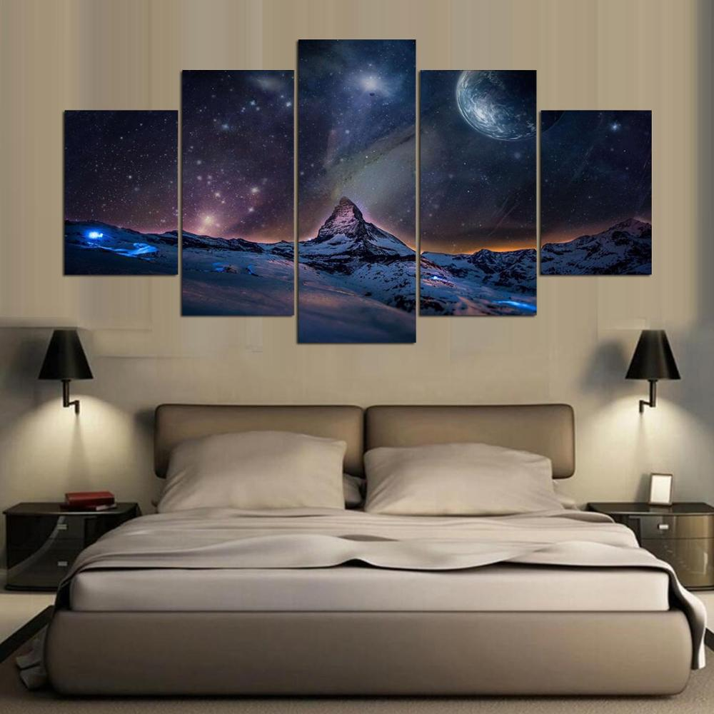 Top-Rated Canvas Print Picture Framework 5 Pieces Wall Art City Of Night Paintings For Modern Living Room Home Decorative