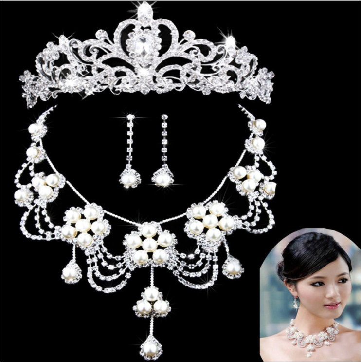 SHOSIXUAN Bride Diaries New Design Crystal Pearl Bride 3pcs Set Necklace Earrings Tiara Bridal Wedding Jewelry Set Accessories