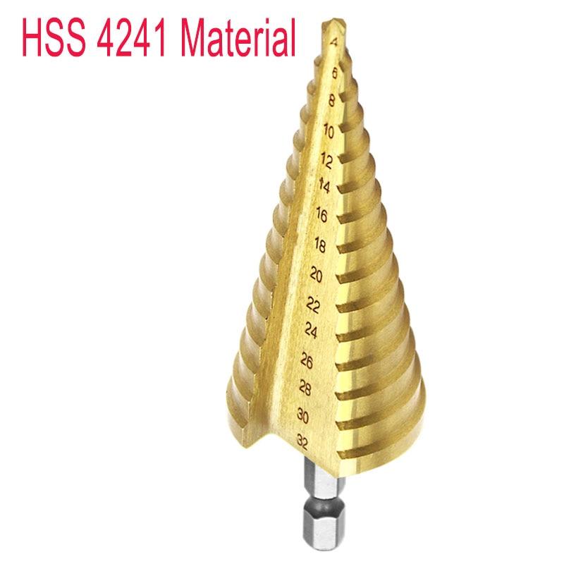 Esagonale di Titanio Passo Cono Punta del trapano Hole Cutter 4-32MM HSS 4241 Per Copriletto Metallo