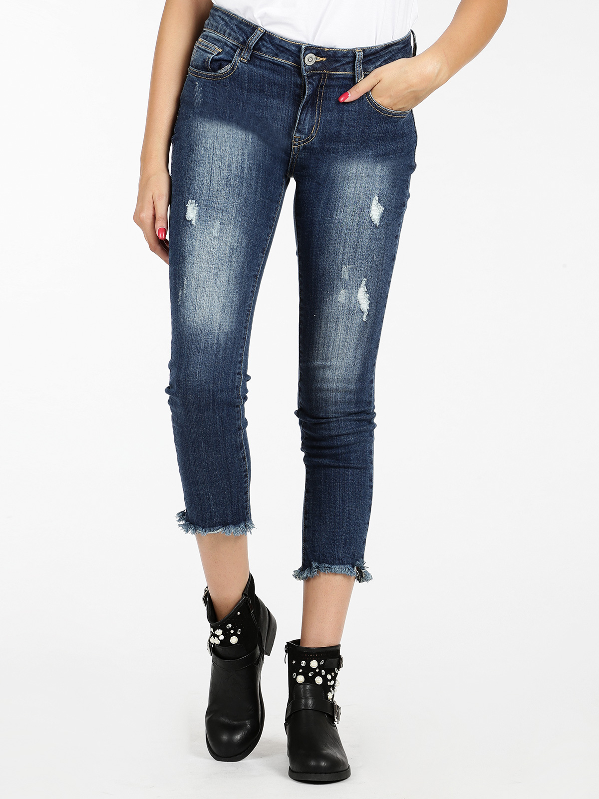 Jeans Push Up Frayed Under