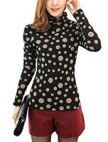 Allegra K Señora Puff Manga Dots Prints Fleece Interior Camisa Casual