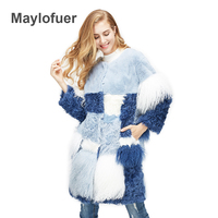Maylofuer 100% Real Natural Fur Coat,Luxury Women Winter Fashion Fur Furry Jacket Genuine Rabbit Fur, Wool Fur