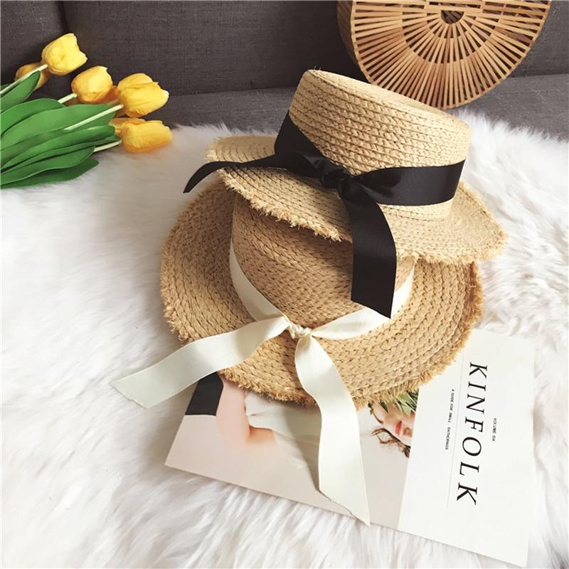Luna&Dolphin Handmade Women Summer Sun Hat Beach Raffia Straw Hat Black White Bow Ribbon Cap Temperament Flat Straw Hats Outdoor