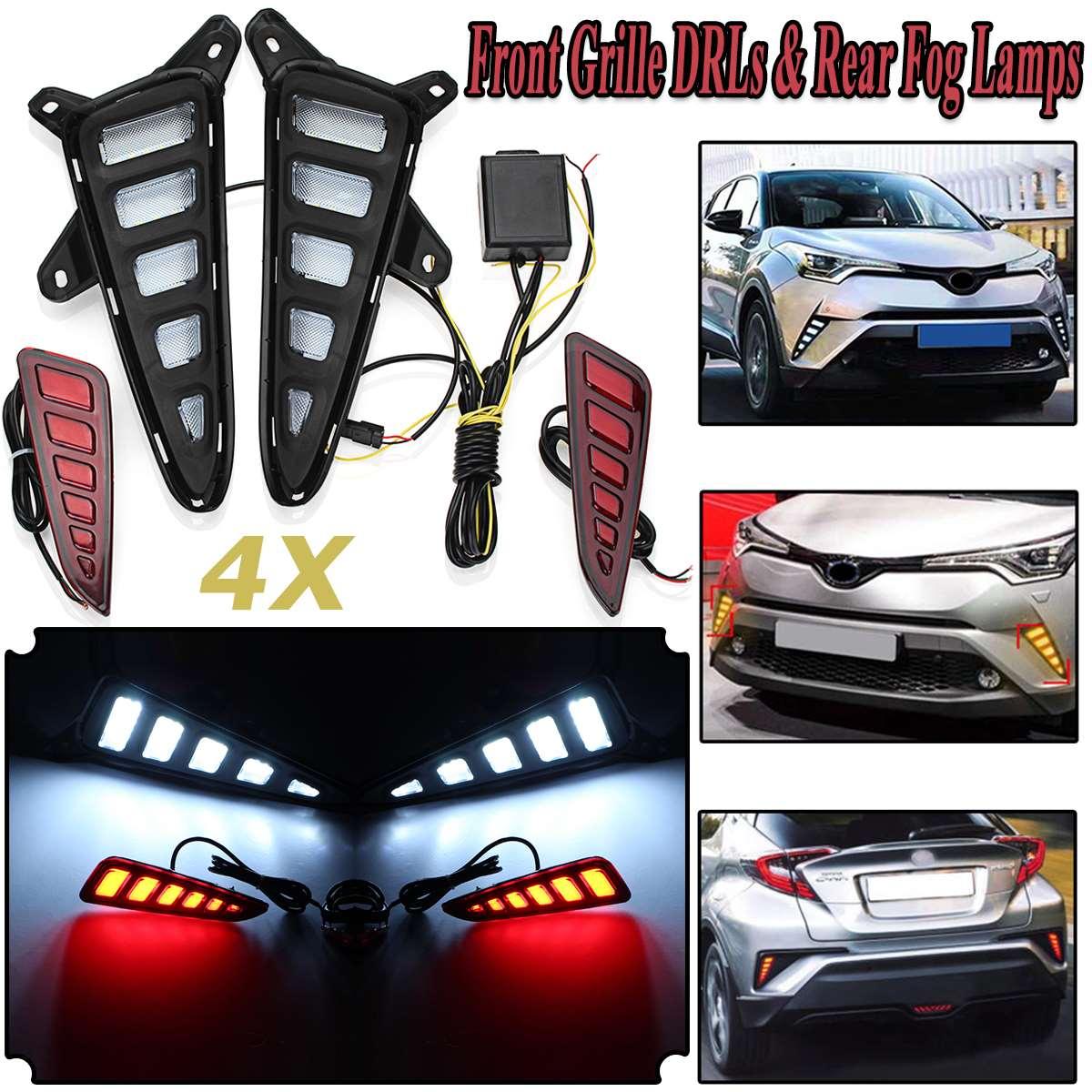 4шт автомобиль вел свет-гид переднюю решетку ДХО задние Противотуманные фары Комплект для Toyota с-HR ЧР 2016-2018 с блоком управления