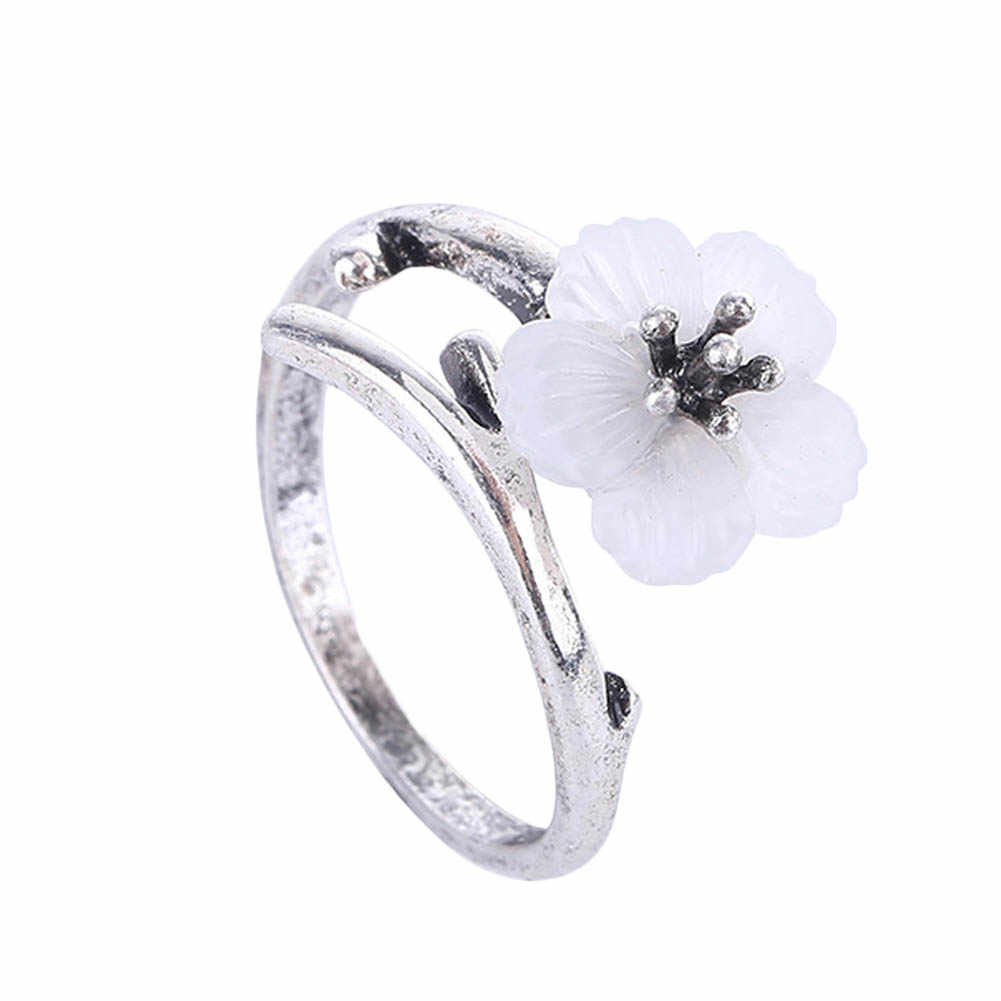 פריחת דובדבן סניפים הטבעת של אישה טמפרמנט חמוד פשוט מכירות חמה תכשיטים באיכות גבוהה טבעת פתוחה פרח קטן