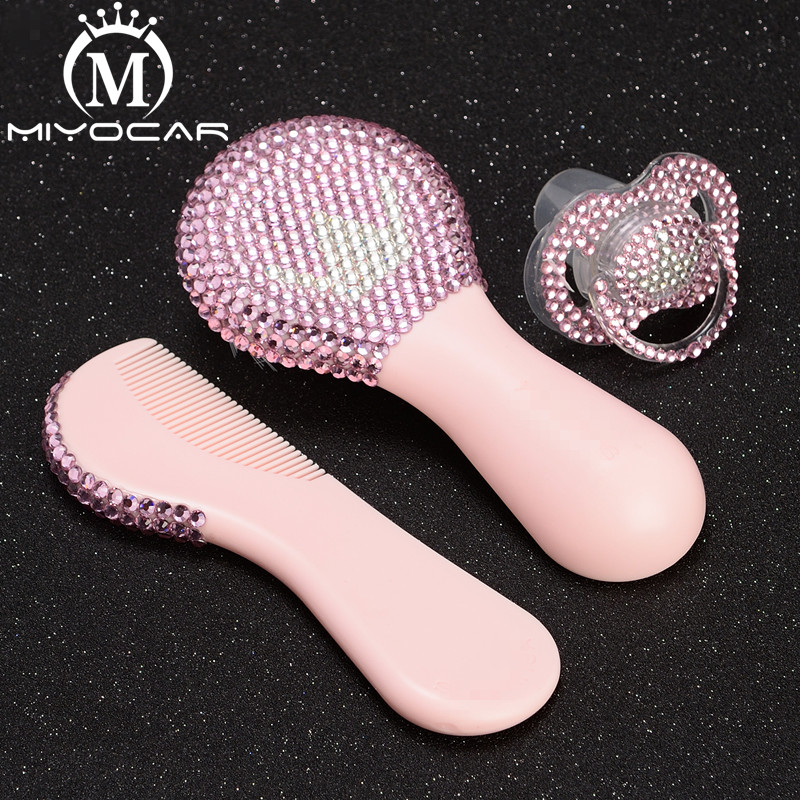 MIYOCAR Bling beautiful handmade set of safe baby comb and bling pink white  crown pacifier for shower gift