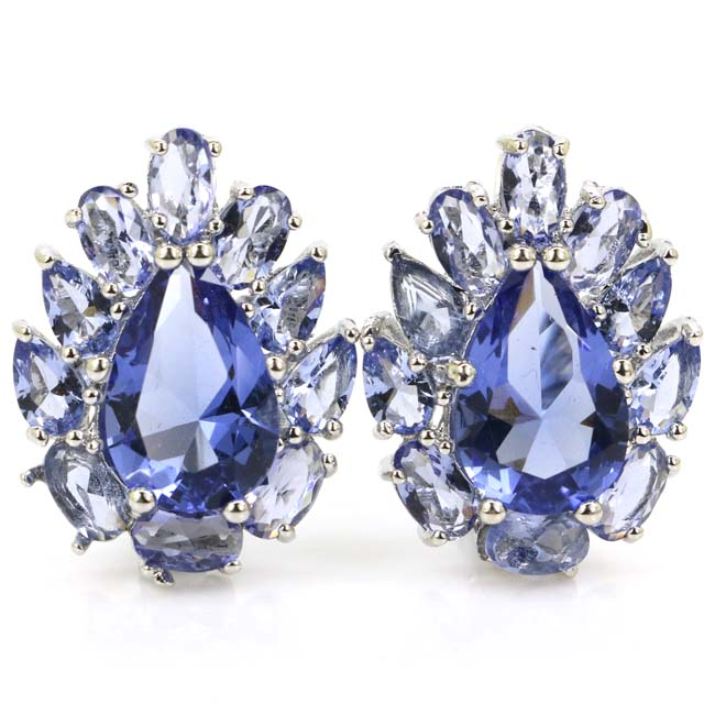 Classic Iolite Wedding Woman's Gift Silver Stud Earrings 20x17mm