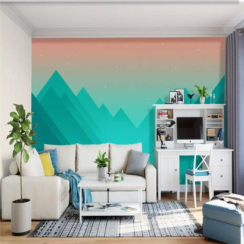 Abstract geometric mountain peak minimalist background professional making murals wallpaper wholesale custom poster photo wall in Fabric Textile Wallcoverings from Home Improvement