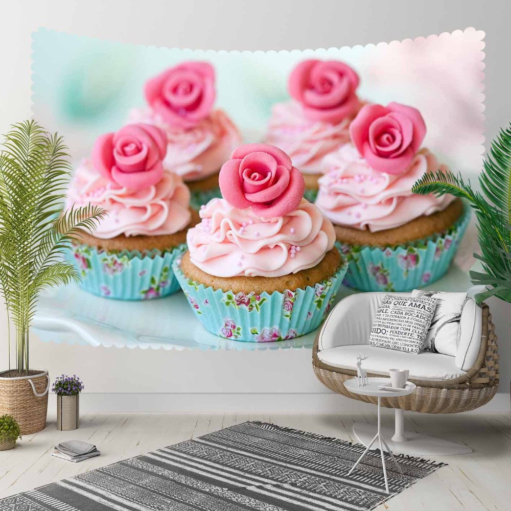 Else Blue Cup Cakes Pink Roses Candy Sweets 3D Print Decorative Hippi Bohemian Wall Hanging Landscape Tapestry Wall Art