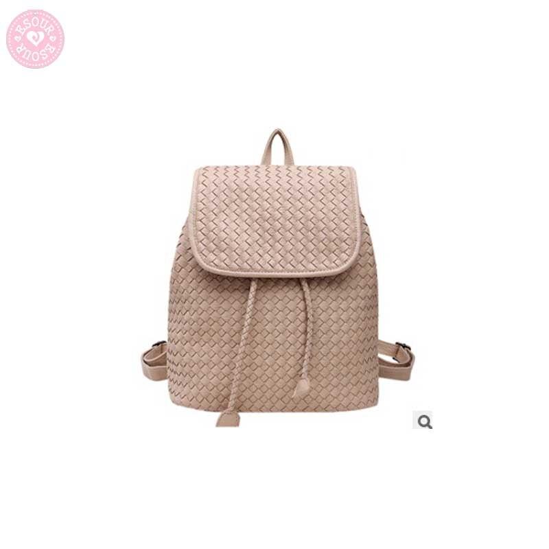 Tessuto del cuoio del modello delle donne di modo zaino kintting backbag sacchetto di scuola di stile di gusto squisito zaini bolsas mochilas femininas-in Zaini da Valigie e borse su  Gruppo 1