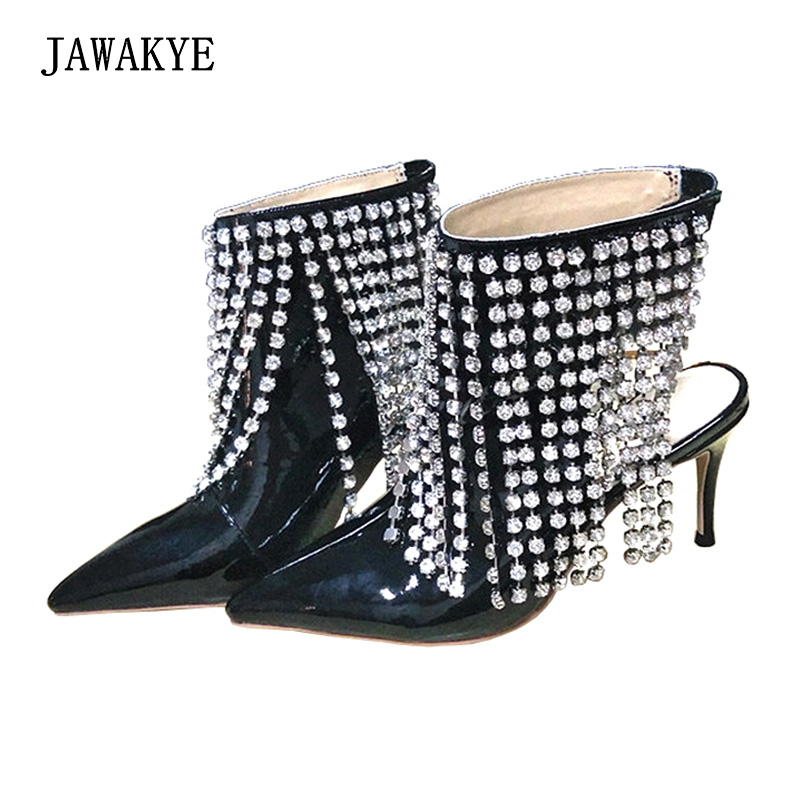Crystal shoes 2018 new bride wedding shoes female Sexy High heels shoes Rhinestone Tassel Ankle boots Slingback Party shoes star 2016 crystal shoes bride female silver ultra high heels ruslana korshunova female party shoes