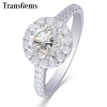 Transgems Center 1ct Halo Moissanite Engagement Ring 14K White Gold GH Color 6.5MM with Accents for Women Jewelry