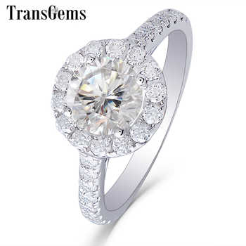 Transgems Center 1ct Halo Moissanite Engagement Ring 14K White Gold GH Color 6.5MM Moissanite with Accents for Women Jewelry - DISCOUNT ITEM  5% OFF All Category