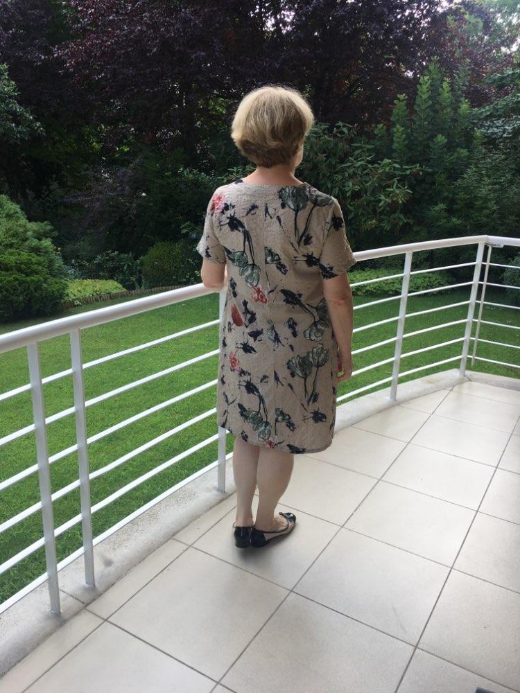 Summer Dress Women Vintage Floral Linen Dress Celmia Ladies Short Sleeve Casual Vestido Female Midi Dresses Plus Size 5Xl photo review