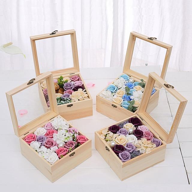 Handmade Decorative Boxes Amusing New Wooden Flower Box Best Gift For Girlfriend Wife Rose Box Home Inspiration Design