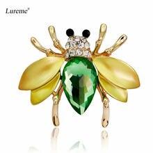 Lureme золотой тон насекомое Шмель мед пчела брошь булавки воротник
