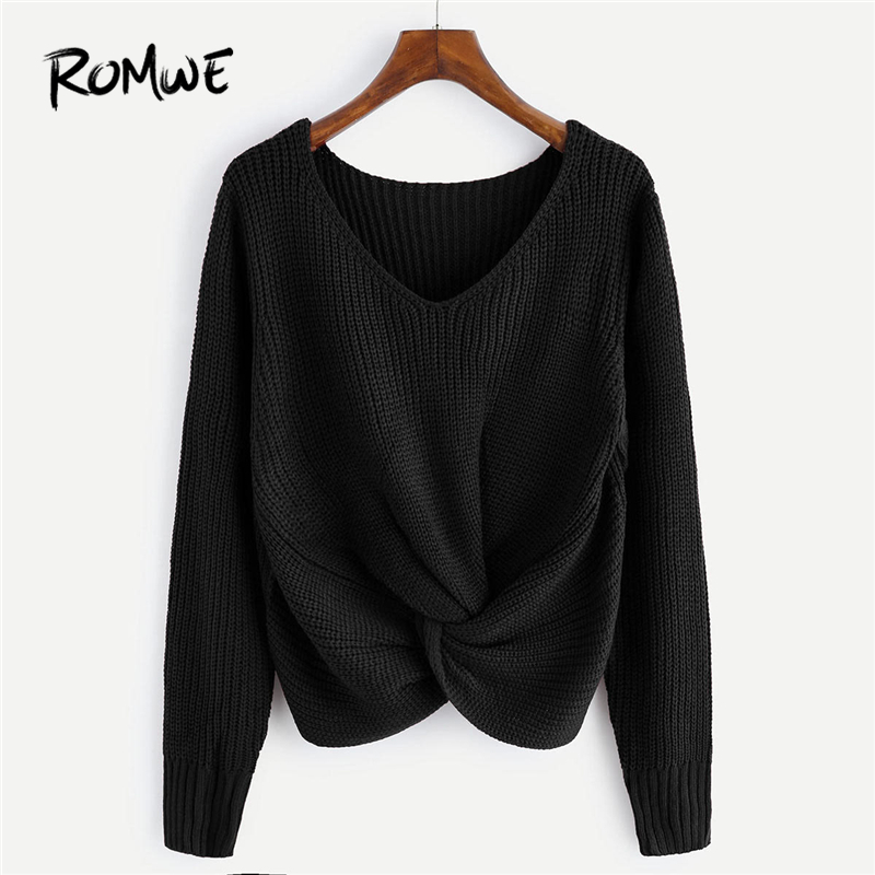 ROMWE Black V-Neckline Twist Front Sweater Women Casual Autumn Plain Long  Sleeve Clothing Female 2d4a450fd