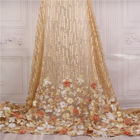 Nigeria Handmade Lace Fabrics African Gold 3d chiffon flower Embroidery Beaded Bridal 5 yards dress for French Wedding Dress