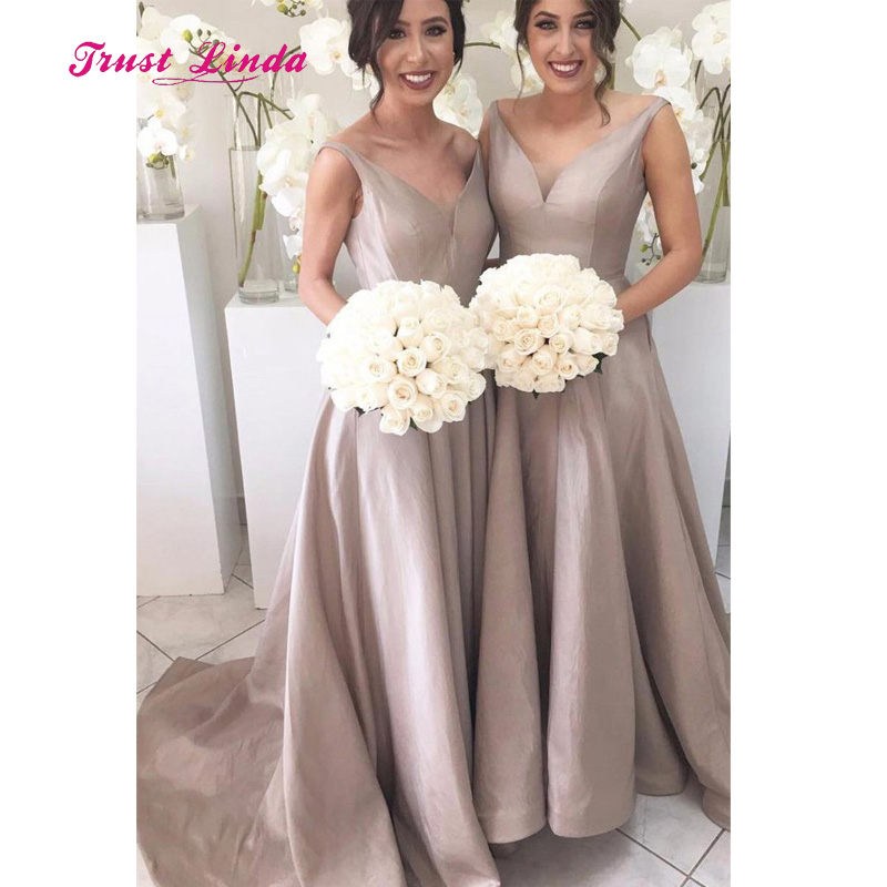 Us 72 6 A Line Silver Bridesmaids Dresses V Neck Floor Length Low Back Elegant Bridesmaid Long Vestido Dama Honor In From