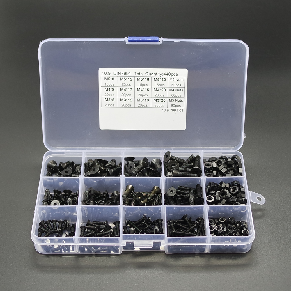 Practical 440pcs M3 M4 M5 High Tensile Socket Flat Head Screws Nuts Kit NO.H791