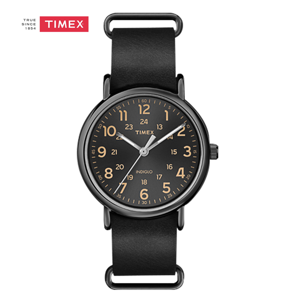 Timex Lovers' Wrist Watch Quartz Indiglo Luminous Leather Strap Black T2P494 24hour Men Women Watches