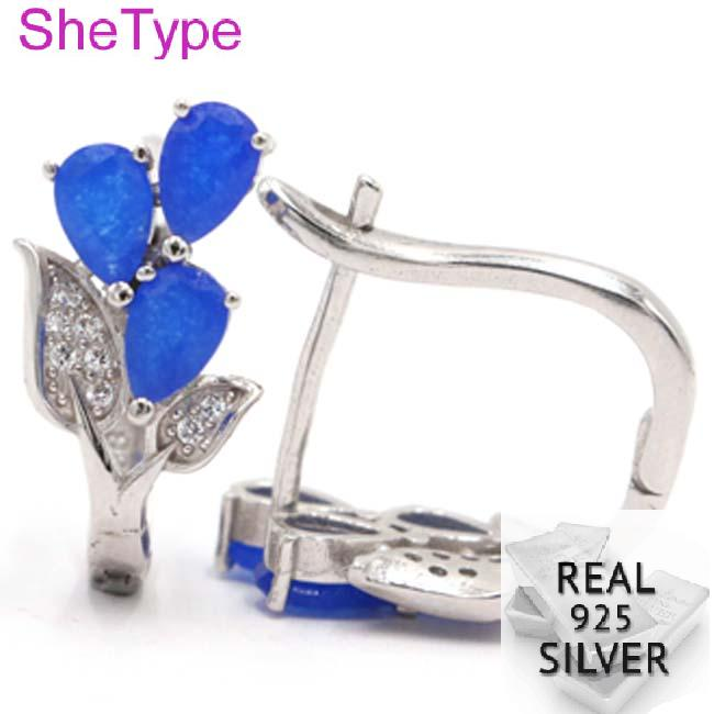 5 0g Romantic Real Blue Sapphire Leaf White CZ Gift For Girls 925 Solid Sterling Silver Stud Earrings 20x11mm in Earrings from Jewelry Accessories