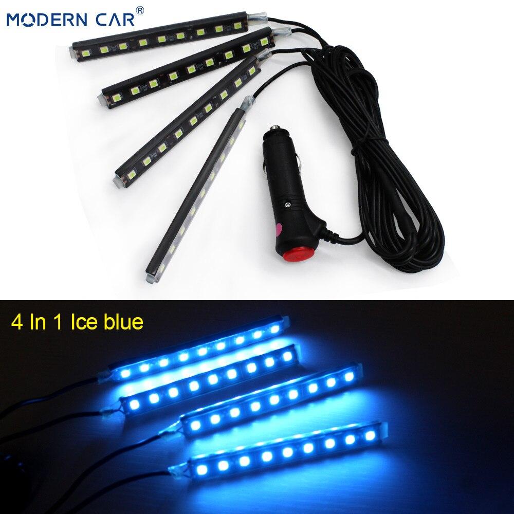 Современный автомобильный 9 светодиодный 2/4 в 1 интерьерный 5050 атмосферный свет тире пол ноги полосы света адаптер прикуривателя декоративная лампа - Испускаемый цвет: 4 In 1 Ice-blue
