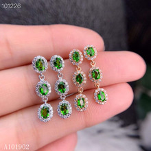 KJJEAXCMY Supporting detection 925 sterling silver inlaid natural diopside gemstone ladies luxury stud earrings support detectio