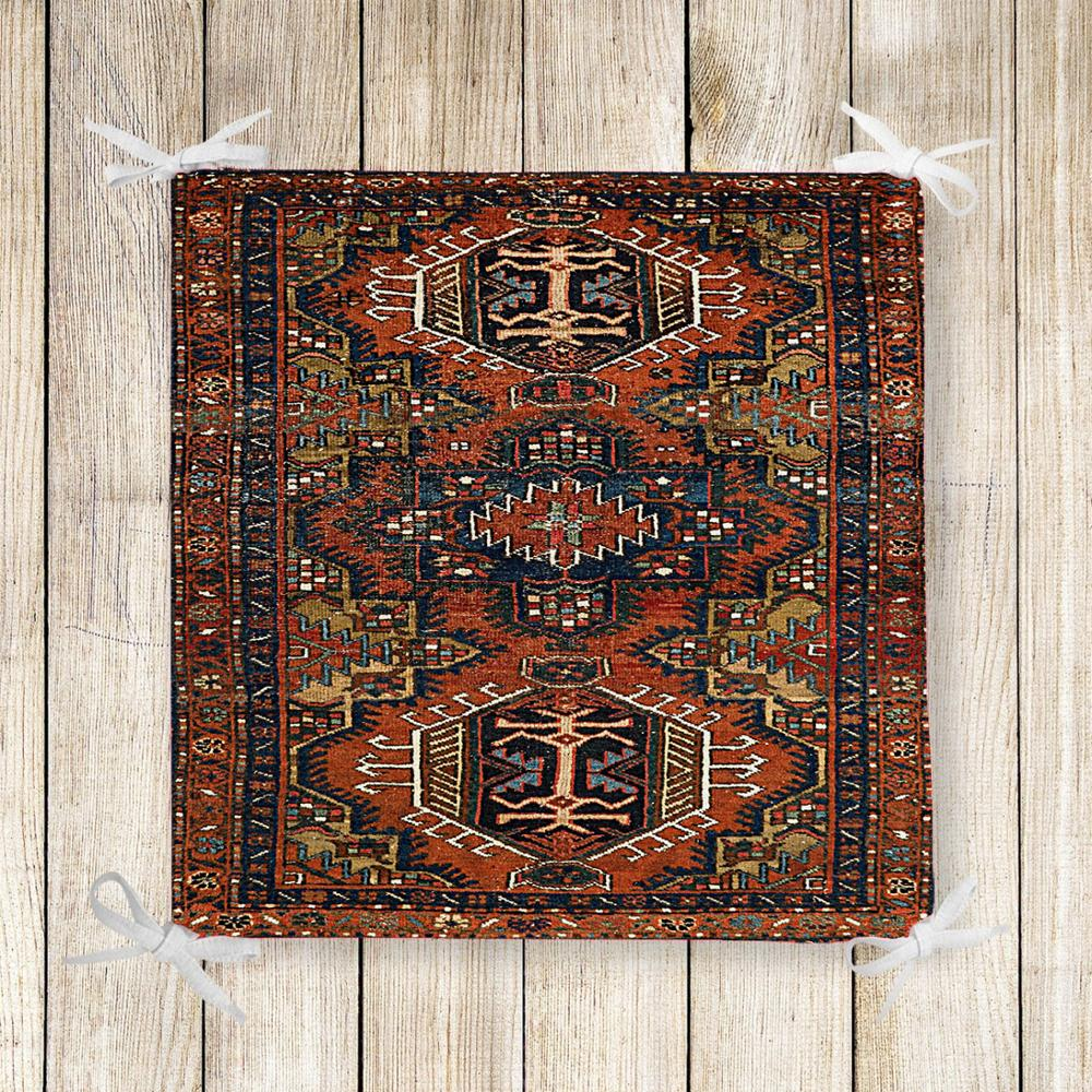 Else Brown Persian Retro Ethnic Kilim 3d Print Square Chair Pad Seat Cushion Soft Memory Foam Full Lenght Ties Non Slip Washable