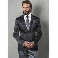 Latest Coat Pant Designs Black Satin Men wedding Suit Formal Slim Fit 2017 mens suits Custom Male Blazer 3 Pieces Vestido tuxedo