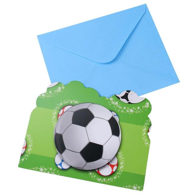 6 Pcs Football Sports Invitation Card Kids Favor Boys Party Decoration Supplies