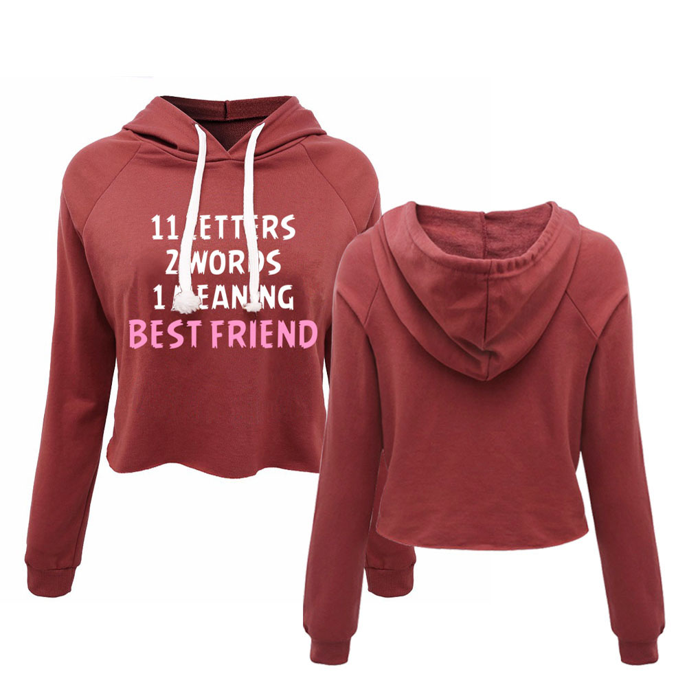 Womens Best Friends Couple Matching Cropped Hoodies 11 Letters 2 words 1 meaning BBF Female Crop Top Long Sleeve Pullovers