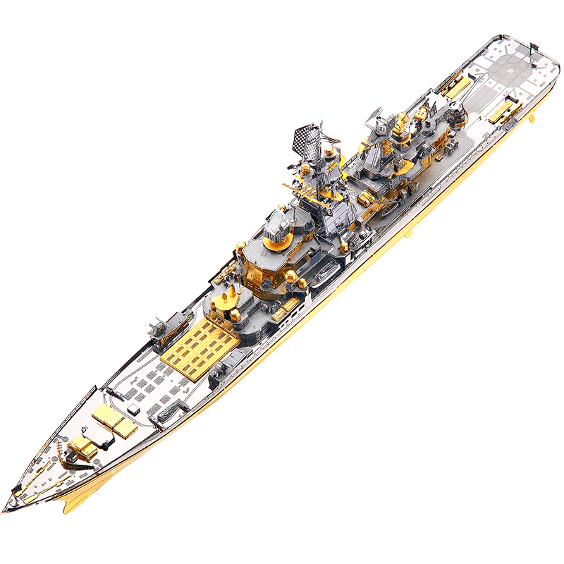 Piececool Russian Battlecruiser Pyotr Velikiy 3D Metal Puzzle DIY Assemble Model Kits Laser Cut Jigsaw Building Toy Gift P110-GS(China)