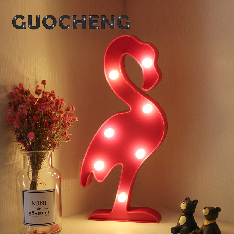 Flamingos 3D Wall Lamps LED Night Light For Kids Rooms Battery Power Night Table Plastic Lamp Party Light Decoration Lamp ...
