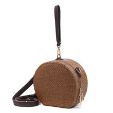 Vintage Women Handbag INS Popular Female Circle Weave Straw Bags Summer Beach Lady Messenger Bag Mini Travel Crossbody SS3151(China)