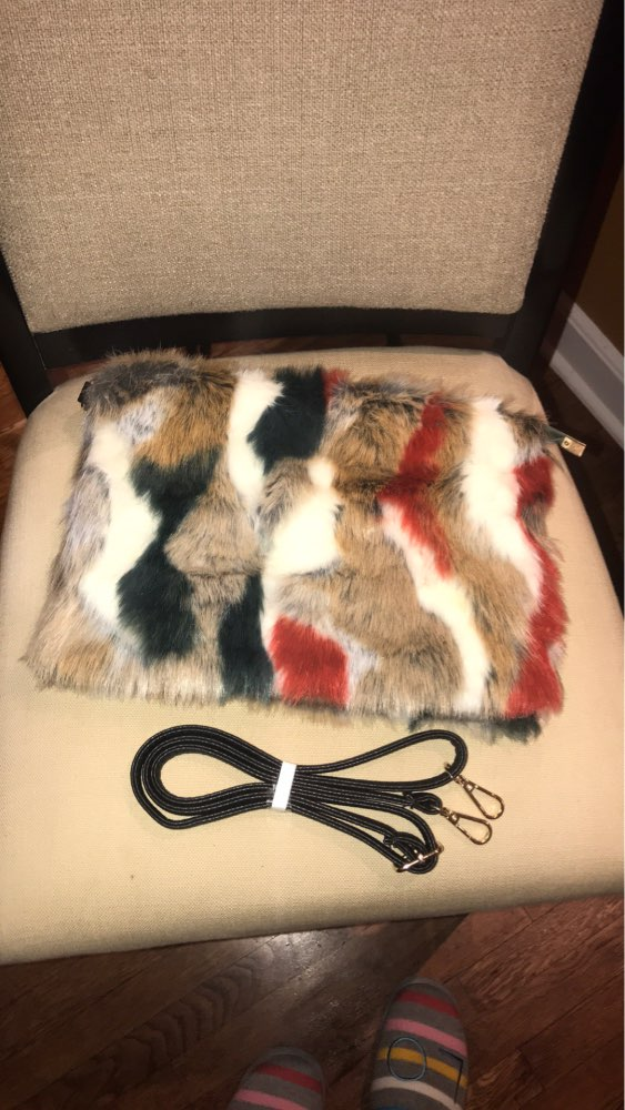 New Fashion Women's Clutches Bags Lady Mixed Faux Fur Clutch Handbags Shoulder Bags Pouch Party Messenger Purse Colorful Bag photo review