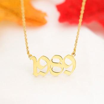b536c284ea75 De viejo inglés fecha COLLAR COLGANTE de oro personalizado número de Color  números collar de joyas de acero inoxidable