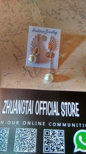 Fashion Angel Wings 8MM Artificial Pearl Earrings For Women Korean Fashion Wedding Indian Cubic Zirconia Tassel Earring Jewelry