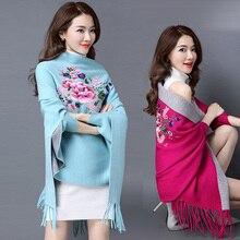 Oversize Dubbele Kleur Dubbele Gebruik Vrouwen Winter Mode Kasjmier Borduren Bloem Borduren Poncho Sjaal met Mouwen Kwasten