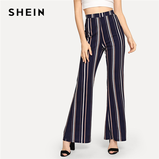2c4f2aeb5a SHEIN Navy Office Lady Highstreet Striped Elastic Waist Flare Leg Elegant  Pants 2018 New Autumn Women Workwear Trousers