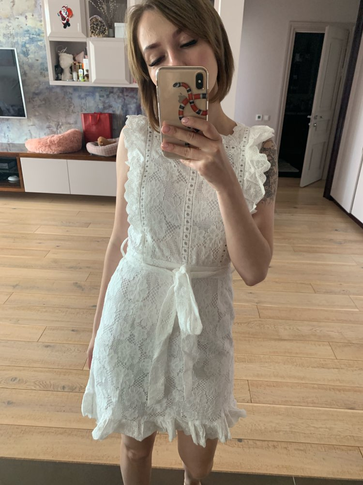 Elegant Embroidery Lace Women Dress Hollow Out Lining Sashes Ruffled White Summer Dress Slim Sexy Party Dress Vestidos photo review