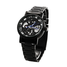 Men's Watch Mechanical Watch Black Steel Brand Hollow Skeleton Dial Wristwatches