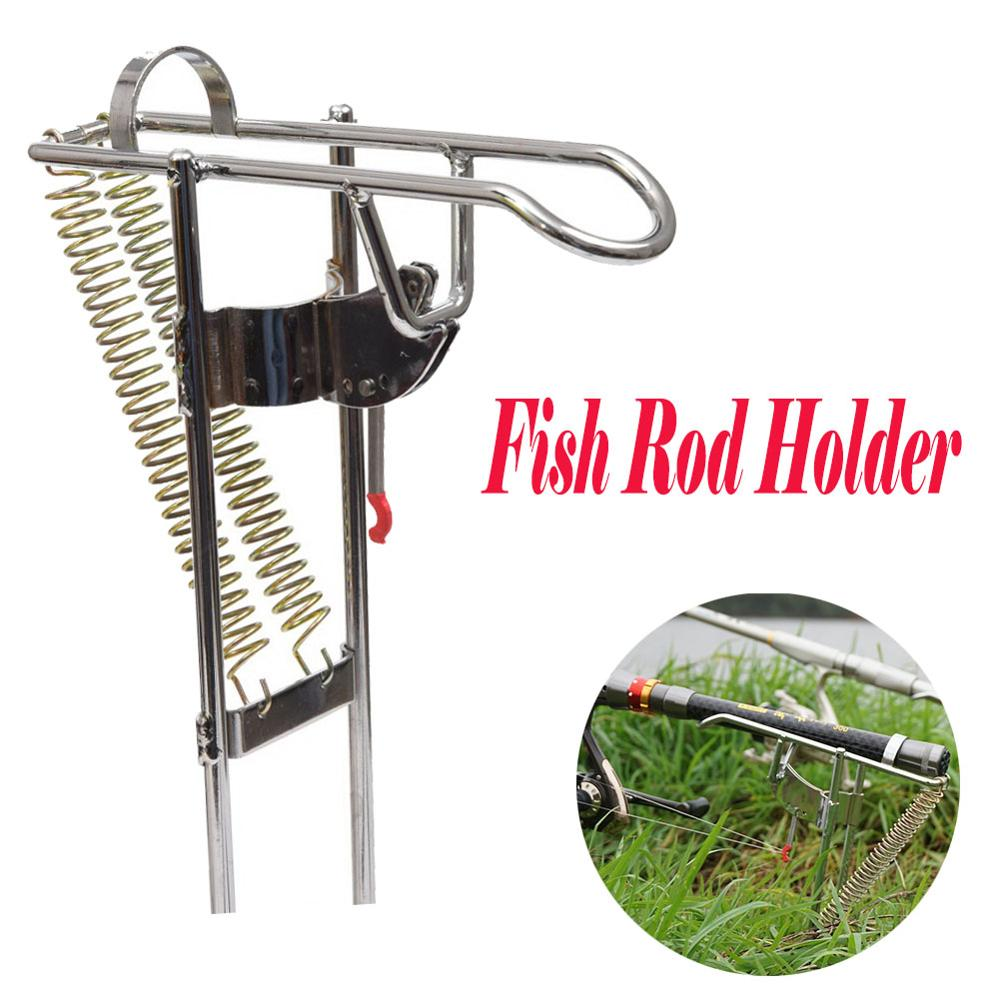 Automatic Double Spring Angle Fishing Pole Tackle Bracket Anti Rust Steel Fishing Bracket Rod Holder Fishing Tackle Accessories-in Fishing Rods from Sports & Entertainment