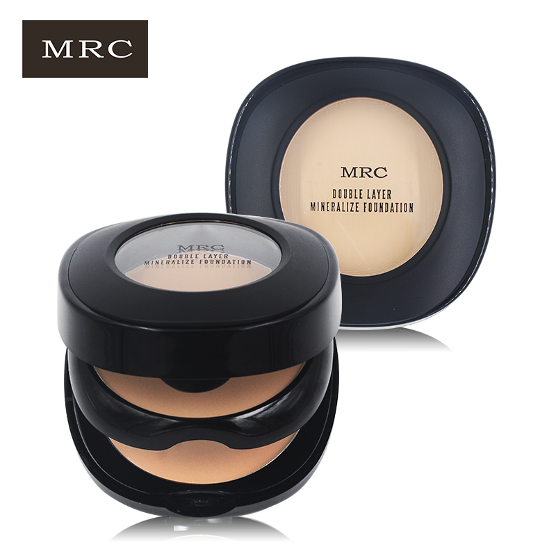MRC Face Foundation Base Makeup Matte Shimmer Contour Fix Pressed Powder Palette Concealer with Puff Nude Compact Cosmetics