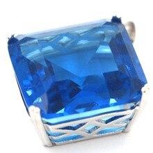 Big 10.9g Gemstone Square 22x22mm London Blue Topaz Gift Girls SheCrown Silver Pendant 38x29mm
