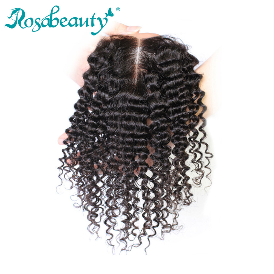 Rosabeauty Human Hair Lace Closure Deep Curly Wave Closure 4x4 Siwss Lace Bleached knots Free Middle