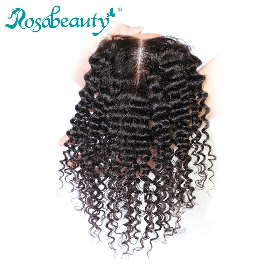 Rosabeauty-Cierre de encaje de pelo humano, rizos profundos, 4x4, nudos blanqueados, libre, medio, tres partes, 8-20 pulgadas, Remy