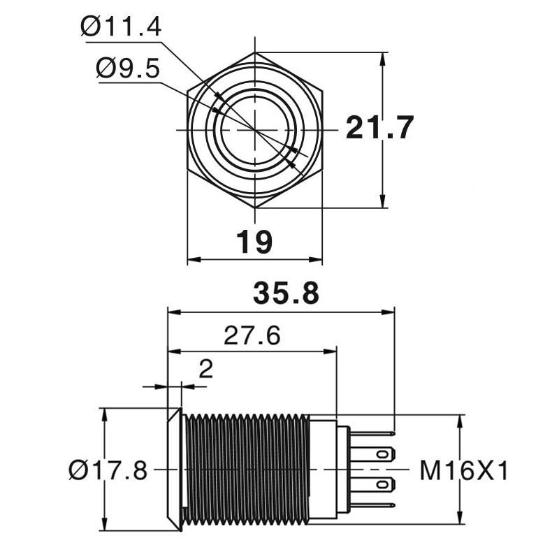 16 мм водонепроницаемый металлический кнопочный переключатель со светодиодной подсветкой Мгновенный сброс двигателя автомобиля PC Power Start 5V 12V 3-380V красный синий