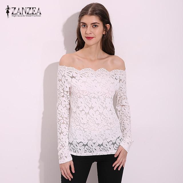 f82053791 Sexy Blusa de Renda 2018 Outono Mulheres Blusas Fora Do Ombro Barra pescoço  Crochet Sólidos Camisas