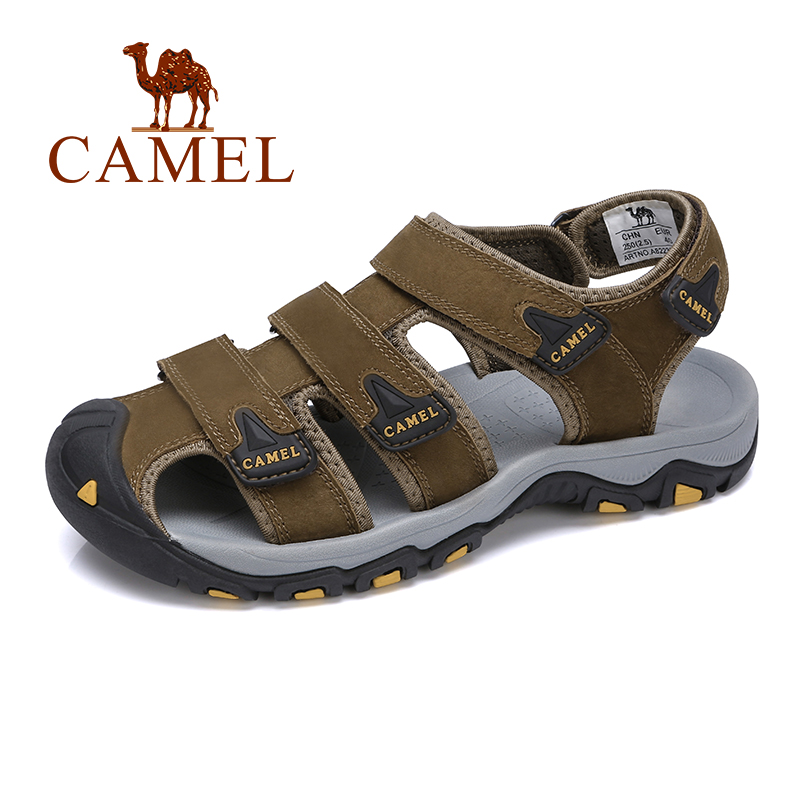 CAMEL Summer New Men's Sandals Casual Beach Genuine Leather Sports Roman Sandals Men Wrapped Toe Non-slip Men Shoes
